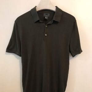 H&M Polo Olive Green Silk Blend Small Muscle Fit